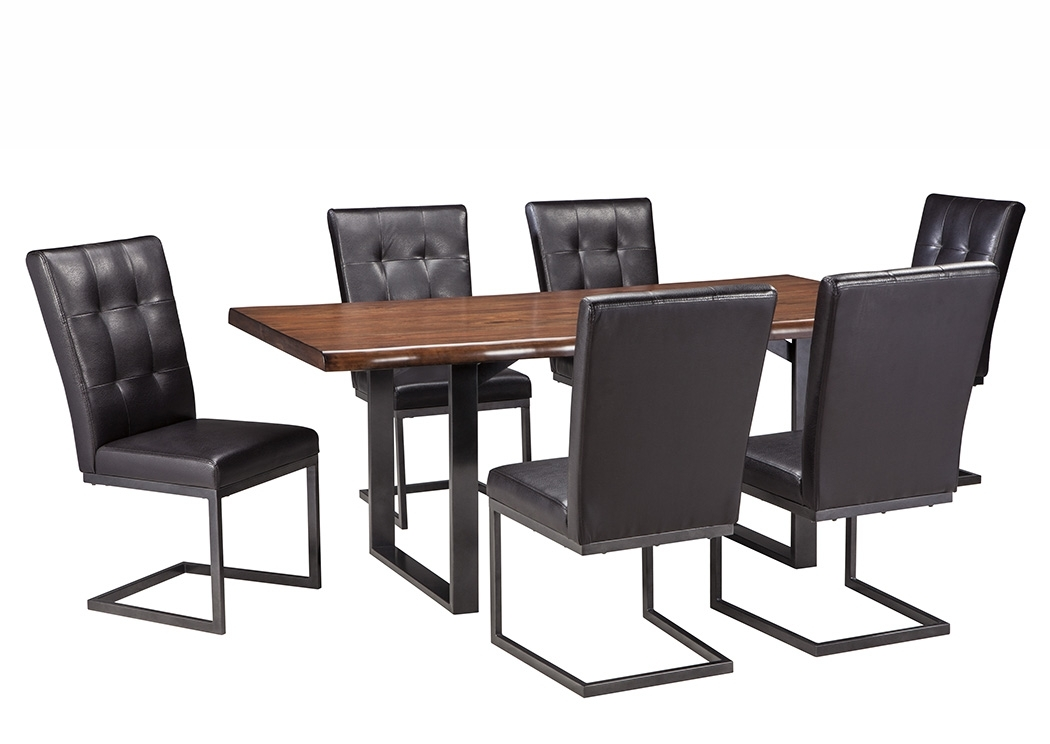 The Warehouse Esmarina Walnut Brown Rectangular Dining Room Table W Throughout Craftsman 7 Piece Rectangle Extension Dining Sets With Uph Side Chairs (Image 24 of 25)