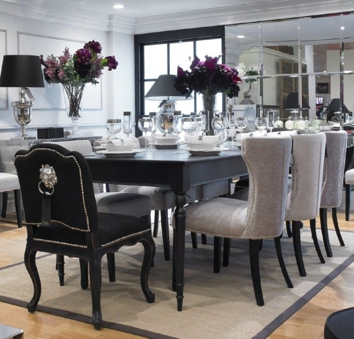 This Set Comes With An 8 Seater Table And 6 Of The Light Coloured Throughout Black 8 Seater Dining Tables (View 9 of 25)