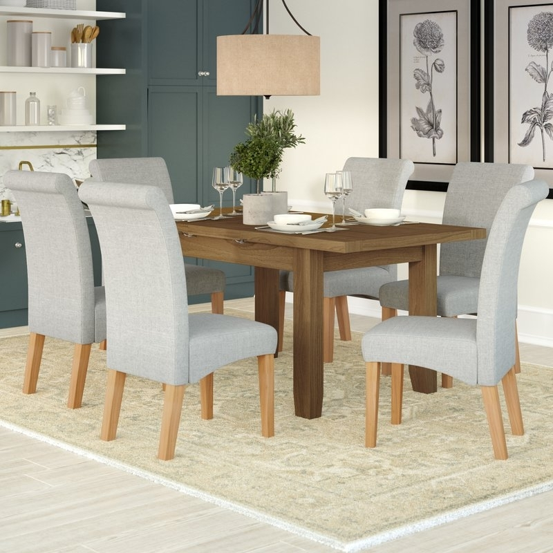 Three Posts Berwick Extendable Dining Table And 6 Chairs & Reviews With Extendable Dining Table And 6 Chairs (Image 25 of 25)