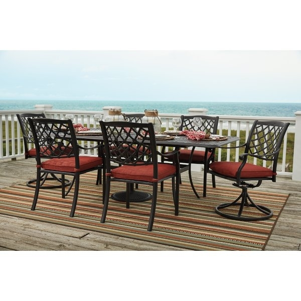 Three Posts Burgett 7 Piece Dining Set & Reviews | Wayfair Within Walden 7 Piece Extension Dining Sets (View 9 of 25)