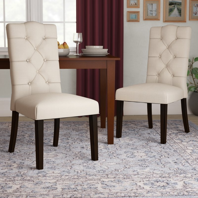 Three Posts Rockville Upholstered Dining Chair & Reviews | Wayfair Within Gavin 7 Piece Dining Sets With Clint Side Chairs (View 23 of 25)