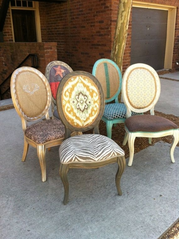 Throne Dining Chairs Texas Decor French Painted Chalk Paint Eclectic Pertaining To Palazzo 7 Piece Dining Sets With Mindy Slipcovered Side Chairs (View 12 of 25)