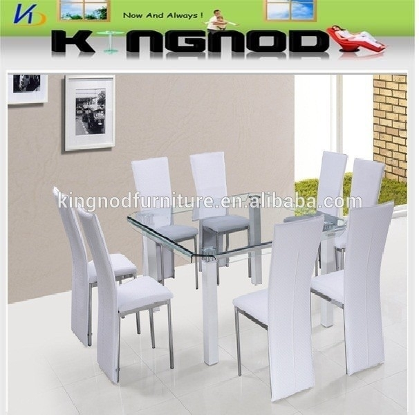 Tianjin Funiture Supplier 8 Seater Space Saving Curve Tempered Glass With Regard To 6 Seater Glass Dining Table Sets (Image 25 of 25)