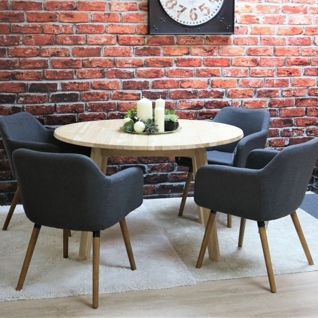 Tilbury 4 Person Untreated Solid Oak Round Dining Table + 4 Dawson Within Dawson Dining Tables (Image 25 of 25)