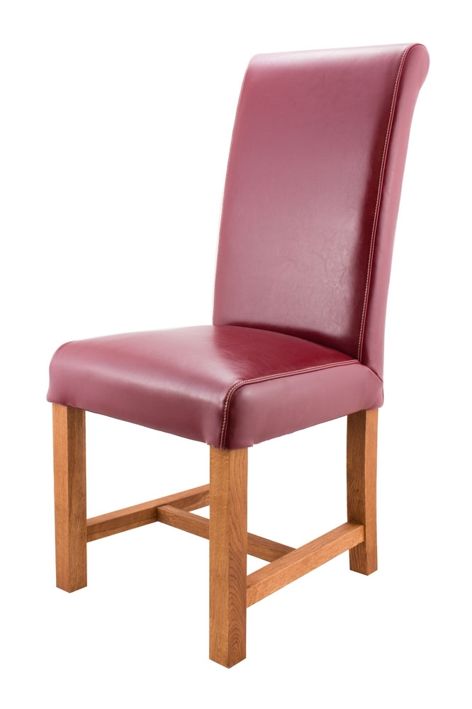 Titan Claret Red Leather Scroll Back Dining Chairs Pertaining To Red Leather Dining Chairs (Image 25 of 25)