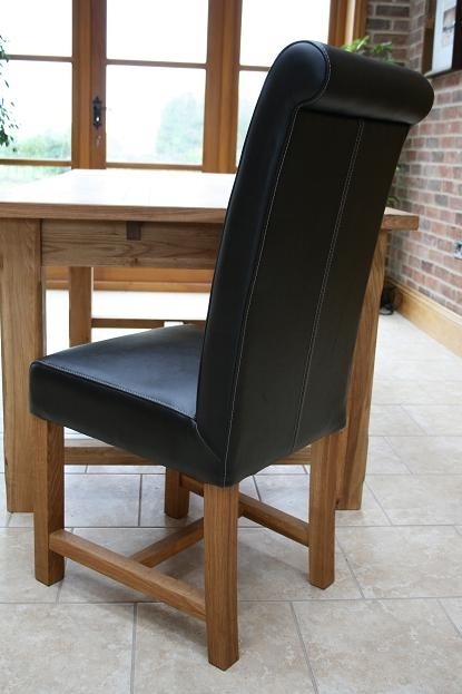Titan Full Leather Chair | Scroll Back Leather Dining Chair | Brown Throughout High Back Leather Dining Chairs (Image 25 of 25)