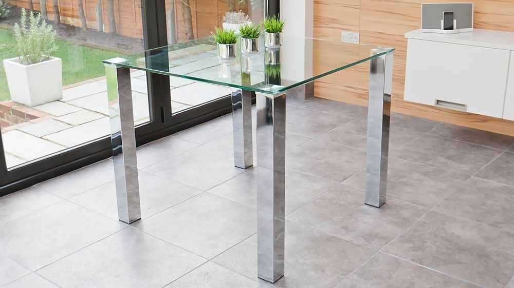 Tiva 2 To 4 Seater Small Glass And Chrome Dining Table | Home Decor Throughout Chrome Glass Dining Tables (Image 22 of 25)