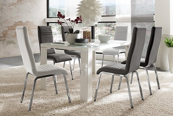 Tizio Glass 140Cm Dining Table In White Gloss With 6 Dora Inside White Gloss Dining Tables 140Cm (View 9 of 25)