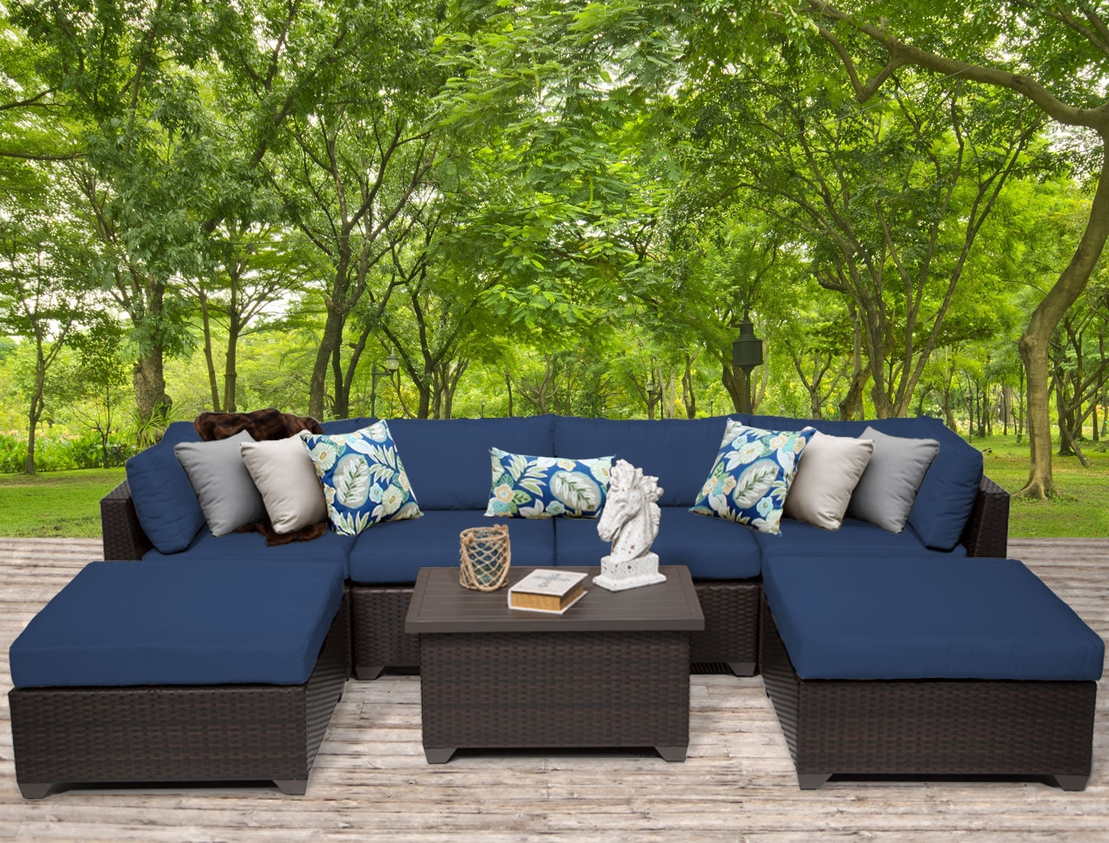 Tk Classics Belle 7 Piece Sectional Seating Group With Cushions Throughout Karen 3 Piece Sectionals (View 16 of 25)