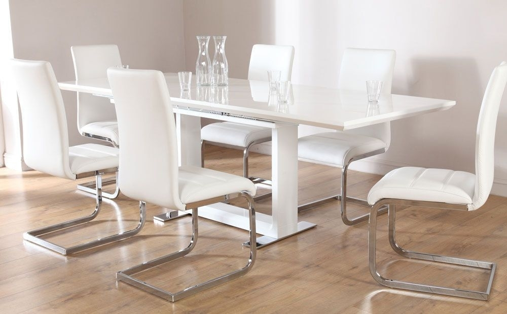 Tokyo & Perth Extending White High Gloss Dining Table & 4 6 8 Chairs In Gloss Dining Sets (Image 21 of 25)