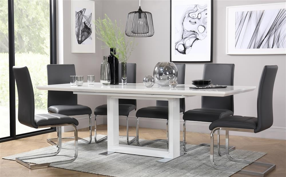 Tokyo & Perth Extending White High Gloss Dining Table & 4 6 8 Chairs With Dining Tables With Grey Chairs (Image 24 of 25)
