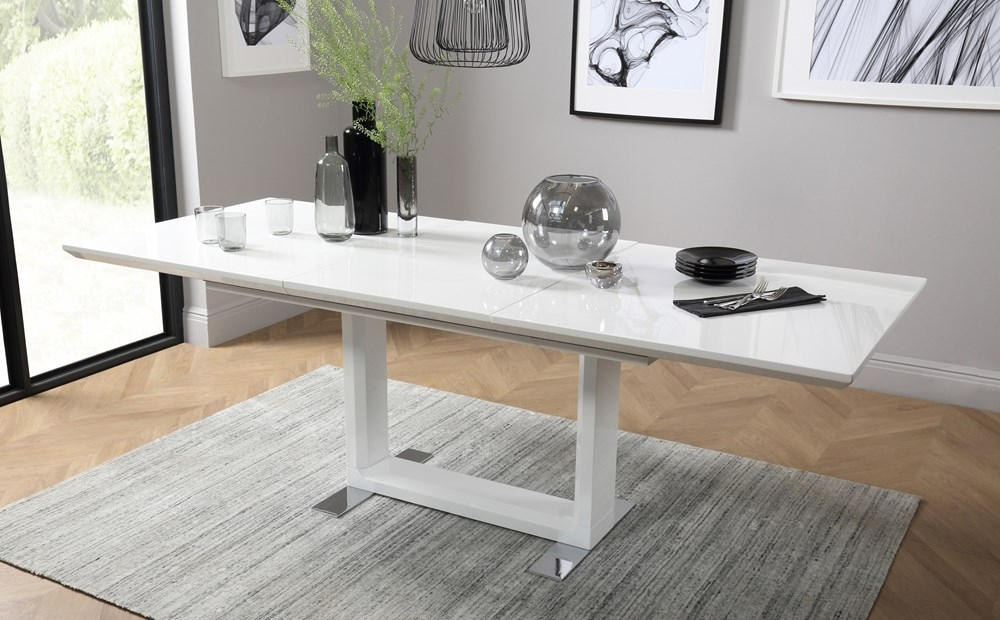 Tokyo White High Gloss Extending Dining Room Table 160 220 Only Within White Gloss Extendable Dining Tables (View 5 of 25)