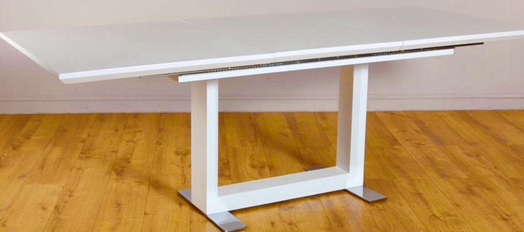 Tokyo White High Gloss Extending Dining Table – 160 – 220Cm | In Throughout White Gloss Extendable Dining Tables (Image 21 of 25)