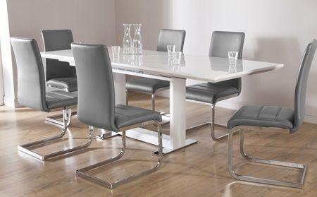 Tokyo White High Gloss Extending Dining Table And 4 Chairs Set In Extending Gloss Dining Tables (Image 21 of 25)