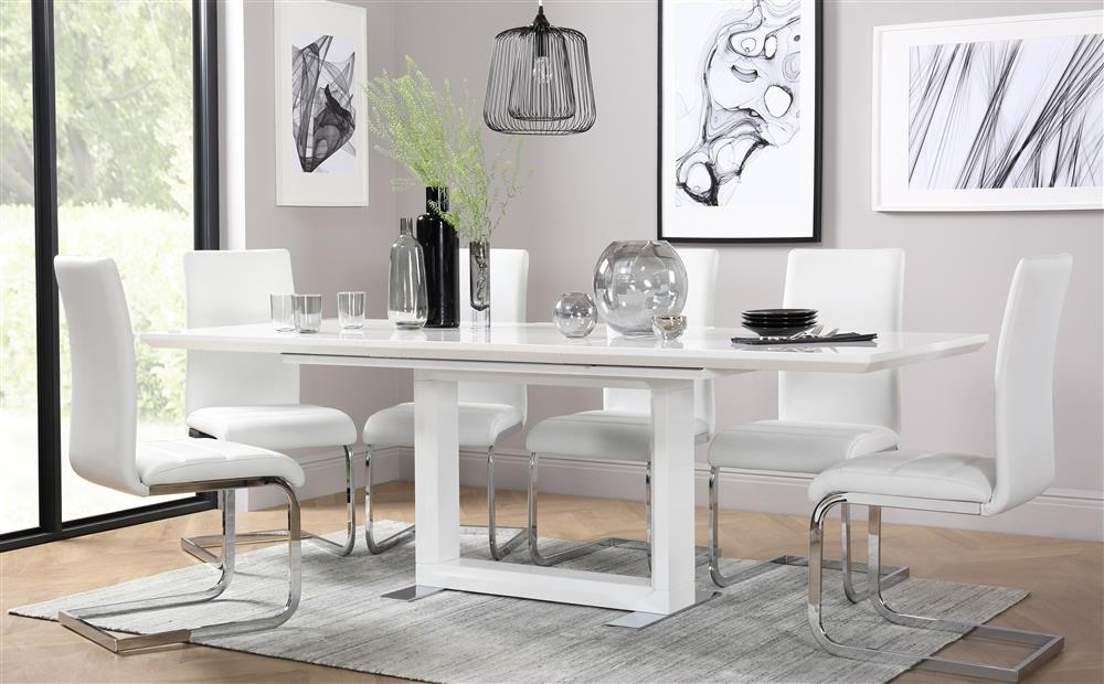 Tokyo White High Gloss Extending Dining Table And 4 Chairs Set Pertaining To Dining Table Chair Sets (Image 25 of 25)