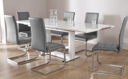 Tokyo White High Gloss Extending Dining Table And 6 Chairs Set Throughout Cheap White High Gloss Dining Tables (View 25 of 25)