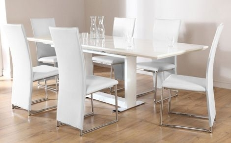 Tokyo White High Gloss Extending Dining Table And 8 Chairs Set In Extending Dining Tables And 8 Chairs (Image 22 of 25)