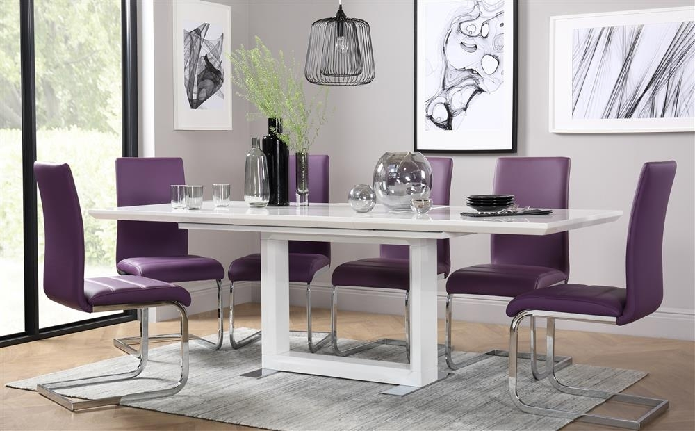 Tokyo White High Gloss Extending Dining Table And 8 Chairs Set In Tokyo Dining Tables (Image 21 of 25)