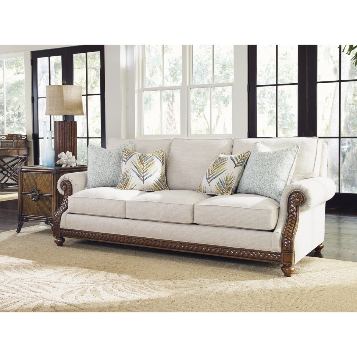 Tommy Bahama Home Bali Hai Shoreline Sofa With Regard To Marcus Oyster 6 Piece Sectionals With Power Headrest And Usb (Image 17 of 25)