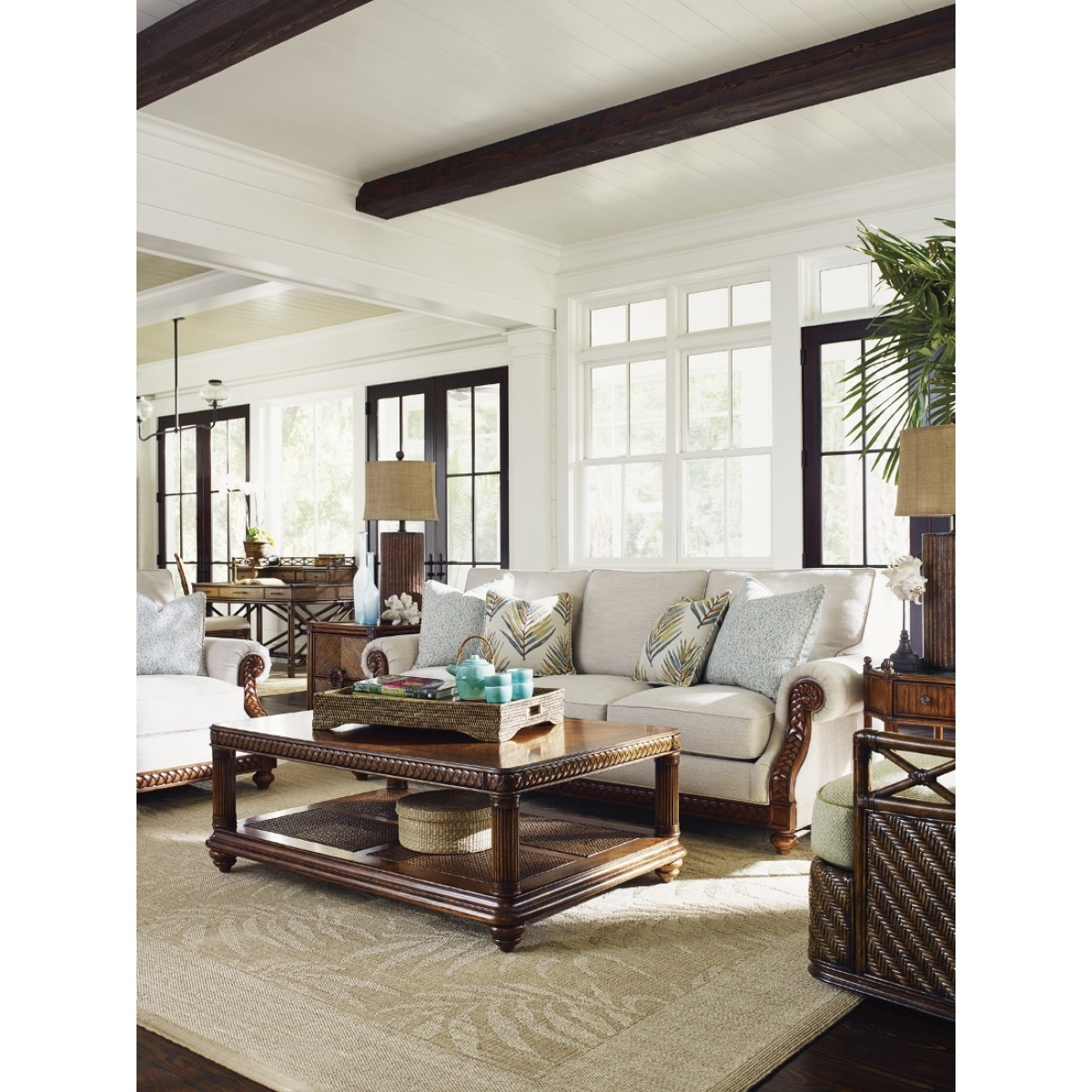 Tommy Bahama Home Bali Hai Shoreline Sofa Within Marcus Oyster 6 Piece Sectionals With Power Headrest And Usb (Image 18 of 25)