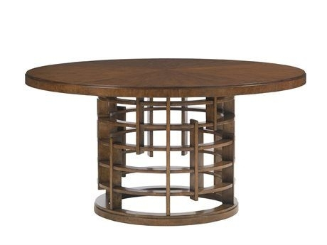 Tommy Bahama Island Fusion 60'' Round Meridien Sebana Wood Top Regarding Helms Round Dining Tables (View 13 of 25)
