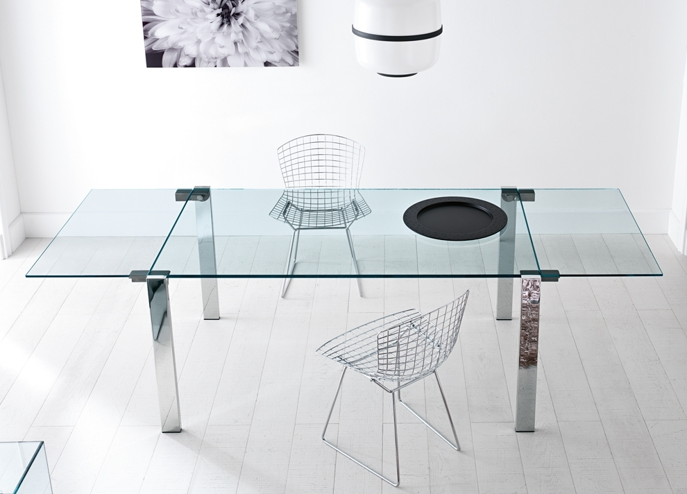 Tonelli Livingstone Extending Glass Dining Table – Extending Glass Pertaining To Glass Folding Dining Tables (Image 24 of 25)