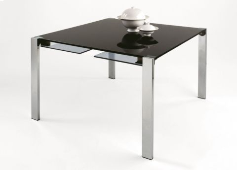 Tonelli Livingstone Square Glass Dining Table | Square Glass Tables Throughout Square Extending Dining Tables (Image 25 of 25)