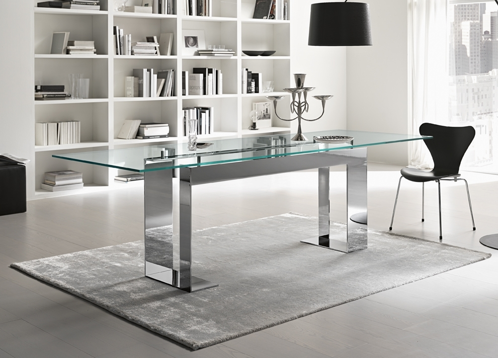 Tonelli Miles Glass & Chrome Dining Table | Contemporary Dining Tables Regarding Chrome Glass Dining Tables (View 3 of 25)