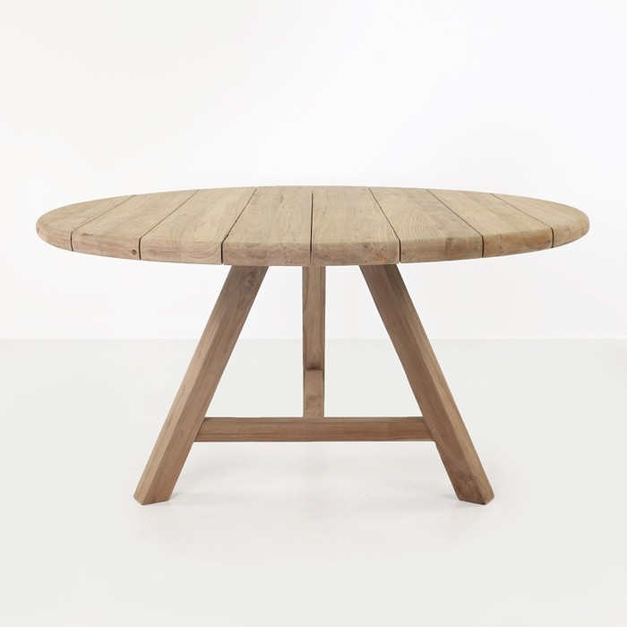 Toni Reclaimed Teak Round Outdoor Dining Table | Design Warehouse Nz For Round Teak Dining Tables (Image 24 of 25)