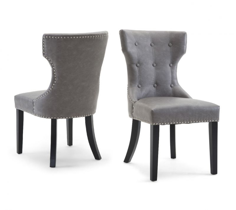 Torelli Alisa Leather Dining Chair Grey | Torelli.co (View 7 of 25)