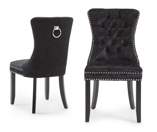 Torelli Cameo Black Fabric Dining Chairs Pair | Morale Home Pertaining To Fabric Dining Chairs (Image 25 of 25)