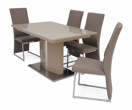 Torelli Silvio Ext Cream High Gloss Dining Table + 4 Remo Chairs Sil Throughout Cream Gloss Dining Tables And Chairs (Image 22 of 25)