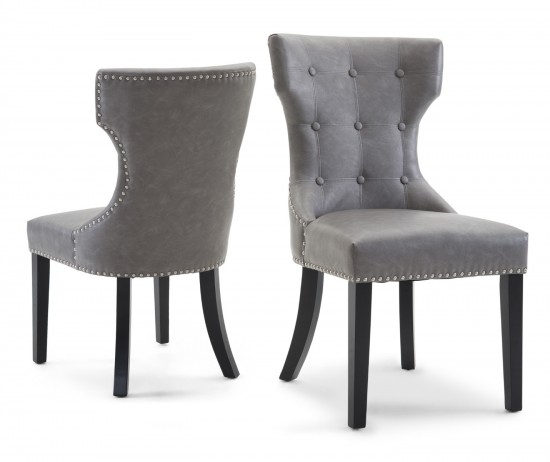 Torelli Spinello Swivel Leather Dining Chairs Pair | Morale Home Intended For Grey Leather Dining Chairs (Image 23 of 25)