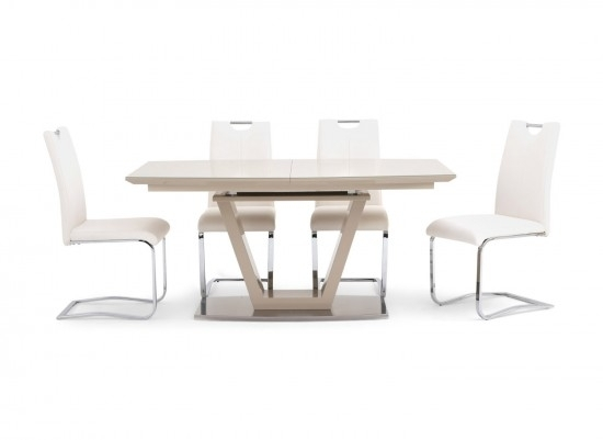 Torelli Valente Ext Cream High Gloss Dining Table + 6 Gabi Chairs Throughout White High Gloss Dining Tables 6 Chairs (Image 25 of 25)