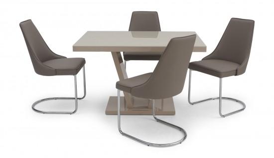 Torelli Valentino Cream High Gloss Dining Table + 4 Mya Chairs Val In High Gloss Dining Tables (Image 23 of 25)