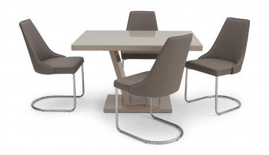 Torelli Valentino Cream High Gloss Dining Table + 4 Mya Chairs Val Throughout High Gloss Dining Furniture (Image 23 of 25)