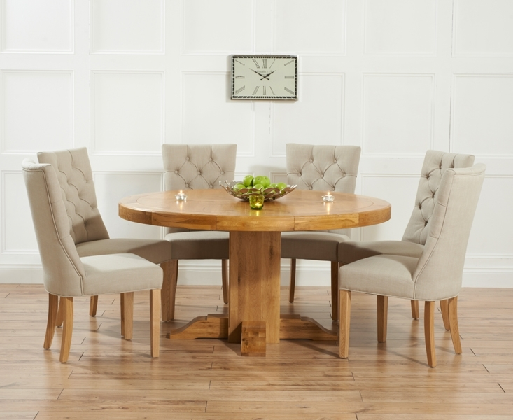 Torino 150Cm Solid Oak Round Pedestal Dining Table With Anais Fabric With Regard To Oak Round Dining Tables And Chairs (View 2 of 25)