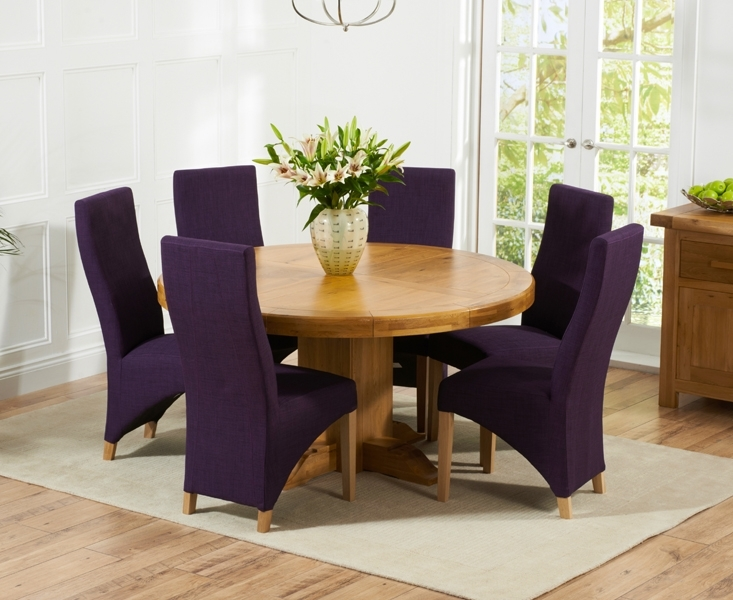 Torino 150Cm Solid Oak Round Pedestal Dining Table With Henley Intended For Pedestal Dining Tables And Chairs (Image 25 of 25)