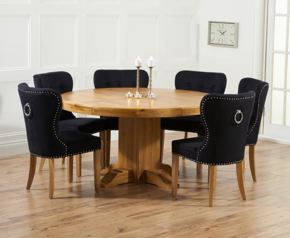 Torino 150Cm Solid Oak Round Pedestal Dining Table With Inside Dining Tables And Fabric Chairs (View 19 of 25)