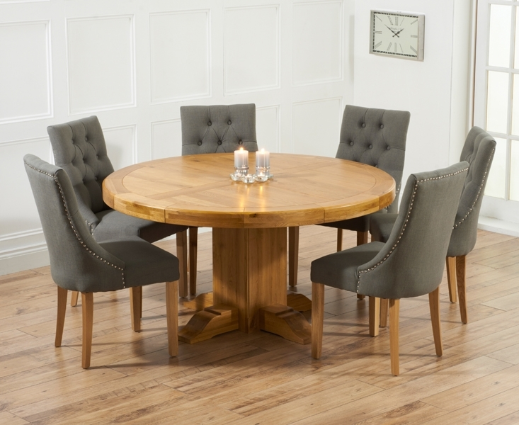Torino 150Cm Solid Oak Round Pedestal Dining Table With Pacific In Oak Dining Set 6 Chairs (Image 25 of 25)