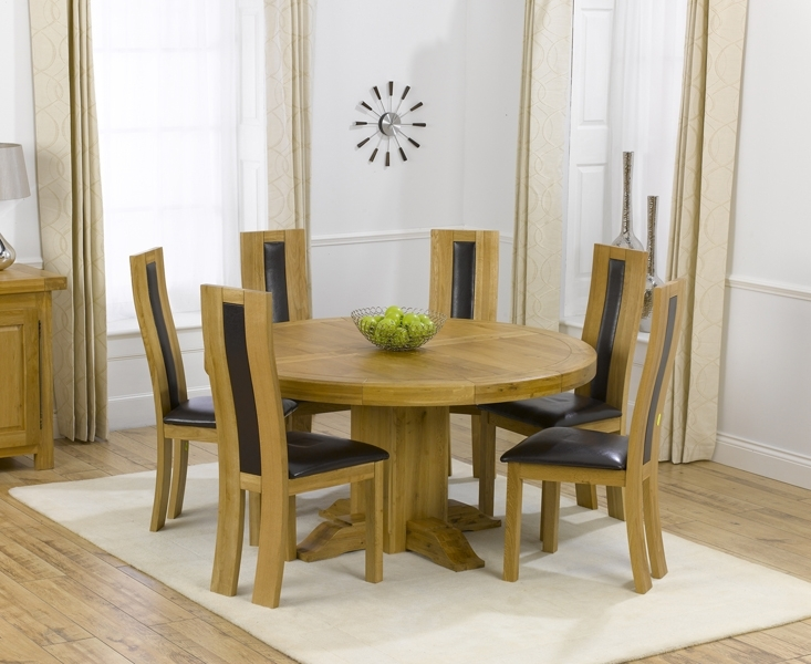 Torino 150Cm Solid Oak Round Pedestal Dining Table With Toronto Chairs Within Round Oak Dining Tables And 4 Chairs (View 7 of 25)