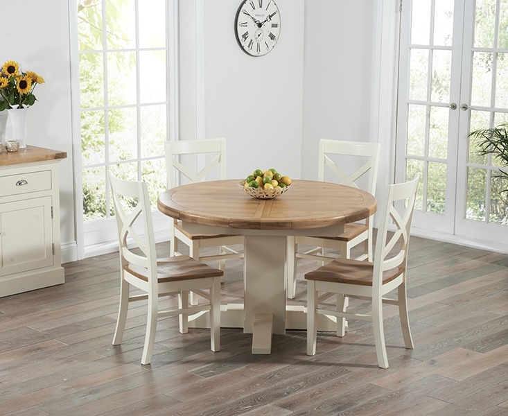 Torino Oak & Cream Extending Pedestal Dining Table With Cavendish Chairs intended for Cream And Wood Dining Tables