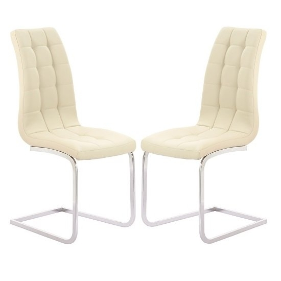 Torres Dining Chair In Cream Faux Leather With Chrome Legs Regarding Cream Leather Dining Chairs (View 6 of 25)