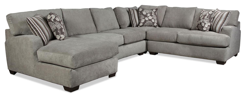 Torrey 4 Piece Left Facing Sectional – Gray | Regarding Josephine 2 Piece Sectionals With Raf Sofa (View 5 of 25)
