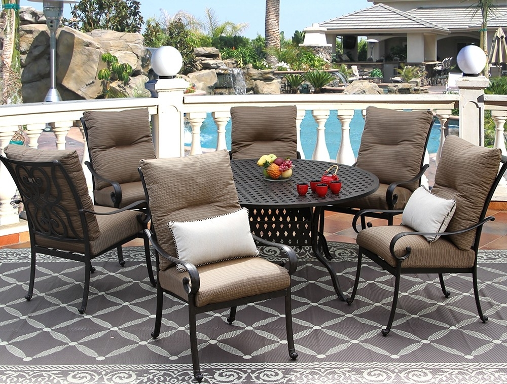 Tortuga Cast Aluminum Outdoor Patio 7Pc Set 60 Inch Round Dining Pertaining To Outdoor Tortuga Dining Tables (View 12 of 25)
