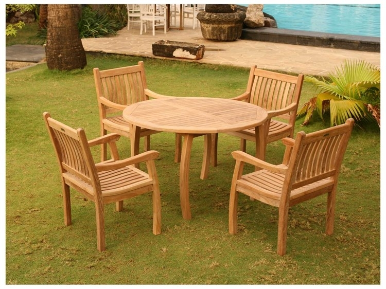 Tortuga Outdoor Jakarta Teak 5Pc Dining Set (Teak 48 Dining Table With Regard To Outdoor Tortuga Dining Tables (Image 15 of 25)