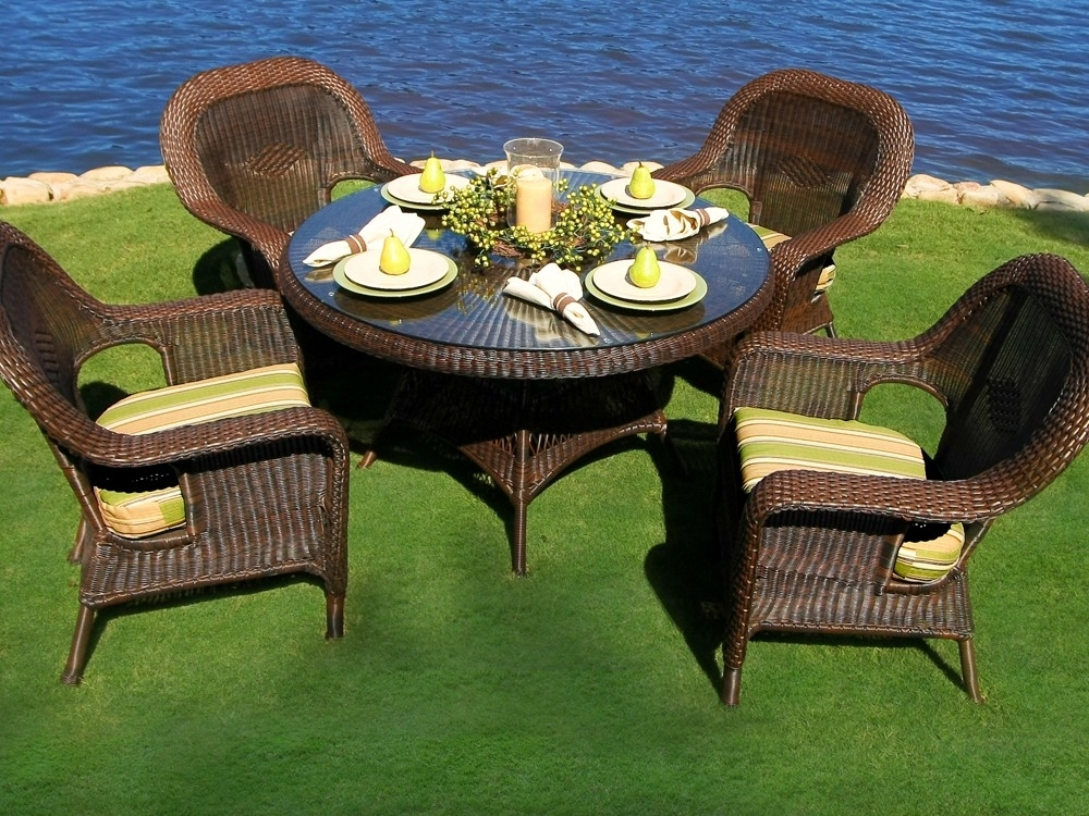 Tortuga Outdoor Lexington Wicker 5 Piece Dining Set – Wicker Intended For Outdoor Tortuga Dining Tables (Image 16 of 25)