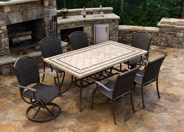 Tortuga Outdoor Marquesas Wicker 7 Piece Dining Set | Mqs 7Pc Swv Intended For Outdoor Tortuga Dining Tables (Image 19 of 25)