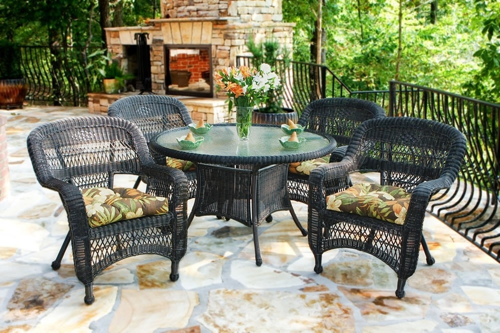 Tortuga Outdoor Portside 5 Piece Wicker Dining Set – Wicker For Outdoor Tortuga Dining Tables (Image 22 of 25)