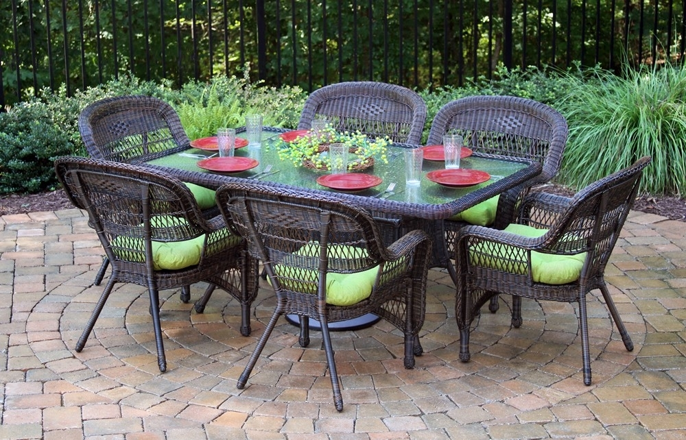 """Tortuga Outdoor Portside 7 Piece 66"""" Wicker Dining Set – Wicker Inside Outdoor Tortuga Dining Tables (Image 23 of 25)"""